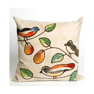 Song Birds Cream Pillow 12x20