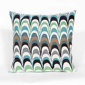 Liora Manne Visions III Blue Square 20 In. Indoor/Outdoor Pillow