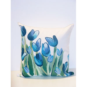 Allover Tulips Blue Pillow