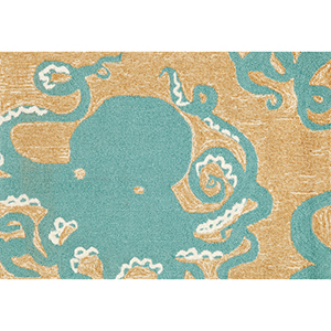 Frontporch Octopus Aqua Rectangular: 2 Ft. x 3 Ft. Indoor/Outdoor Rug