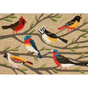 Frontporch Birds Neutral Rectangular: 2 Ft. x 3 Ft. Indoor/Outdoor Rug