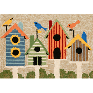 Frontporch Birdhouses Neutral Rectangular: 2 Ft. x 3 Ft. Indoor/Outdoor Rug