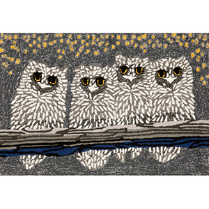 Frontporch Owls Grey Rectangular: 2 Ft. x 3 Ft. Indoor/Outdoor Rug