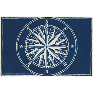 Frontporch Compass Navy Rectangular: 2 Ft. x 3 Ft. Indoor/Outdoor Rug
