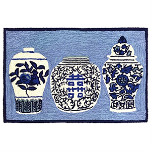 Liora Manne Frontporch Blue Rectangular: 2 Ft. x 3 Ft. Indoor/Outdoor Rug