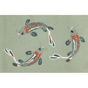 Frontporch Koi Fish Aqua Rectangular: 5 Ft. x 7 Ft. 6 In. Rug