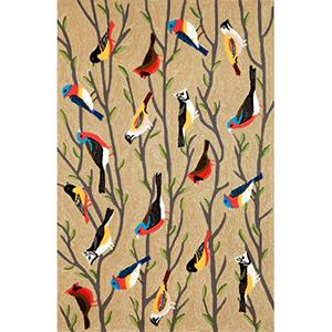 Frontporch Birds Neutral Rectangular: 5 Ft. x 7 Ft. 6 In. Indoor/Outdoor Rug