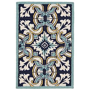 Liora Manne Ravella Blue Rectangular: 2 Ft. x 3 Ft. Indoor/Outdoor Rug