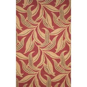 Ravella Leaf Red Rectangular: 5 ft. x 7 ft. 6 In. Rug
