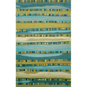 Seville Mosaic Stripe Blue Rectangular: 5 ft. x 8 ft. Rug