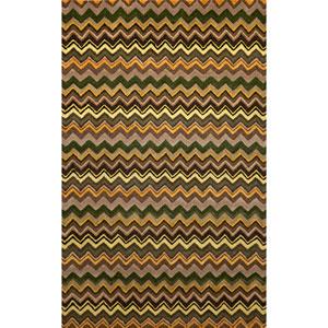 Seville Zigzag Stripe Green Rectangular: 5 Ft. x 8 Ft. Rug