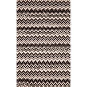 Seville Zig Zag Stripe Black/White Rectangular: 5 Ft. x 8 Ft. Rug