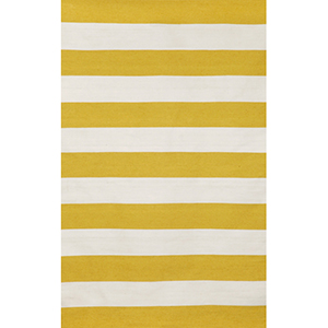 Sorrento Indoor/Outdoor Rugby Stripe Yellow Rectangular: 5 Ft. x 7 Ft. 6 In. Indoor/Outdoor Rug
