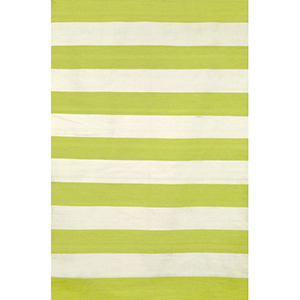 Sorrento Indoor/Outdoor Rugby Stripe Lime Rectangular: 5 Ft. x 7 Ft. 6 In. Indoor/Outdoor Rug