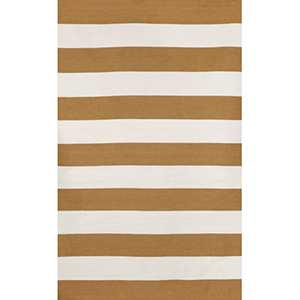 Sorrento Indoor/Outdoor Rugby Stripe Khaki Rectangular: 5 Ft. x 7 Ft. 6 In. Indoor/Outdoor Rug