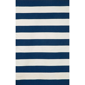 Sorrento Indoor/Outdoor Rugby Stripe Navy Rectangular: 5 Ft. x 7 Ft. 6 In. Indoor/Outdoor Rug
