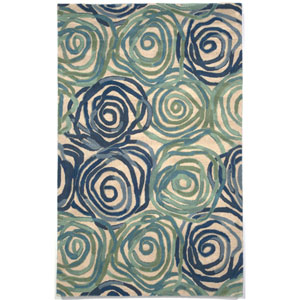 Tivoli Rambling Rose Blue Rectangular: 3 Ft 6 In x 5 Ft 6 In Rug