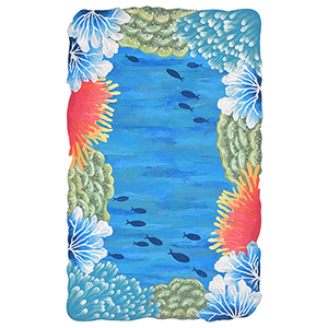 Liora Manne Visions IV Blue Rectangular: 2 Ft. x 3 Ft. Indoor/Outdoor Rug