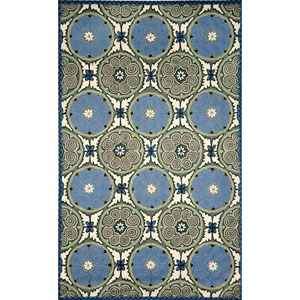 Visions IV Souzani Circles Blue Indoor/Outdoor Rectangular: 5 Ft. x 8 Ft. Rug
