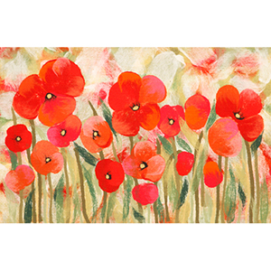 Visions IV Poppies Red Rectangular: 1 Ft. 8 In. x 2 Ft. 6 In. Indoor/Outdoor Rug