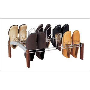 Espresso Wood and Steel Shoe Rack