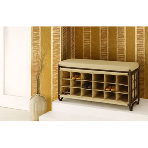 Oil Rubbed Bronze Bench with Shoe Cubbies