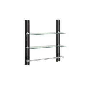 Dark Brown Two-Tier Glass Shelf with Towel Bar