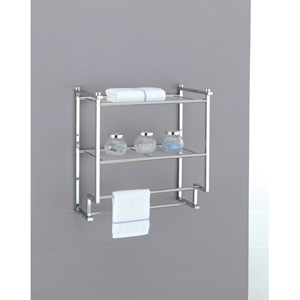 Metro Chrome Two-Tier Wall Mounting Rack with Towel Bars