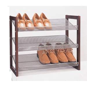 Neu Home Mesh Stackable Three-Tier Shoe Rack