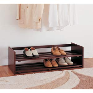 Neu Home Stackable Mahogany Shoe Rack