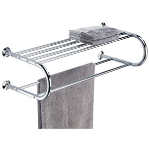 Chrome Wall Mounting Shelf with Towel Rack
