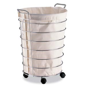 Rolling Laundry Basket with Canvas Bag