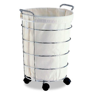 Chrome Laundry Basket with Canvas Bag