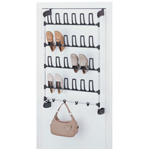Black and Silver Overdoor 12 Pair Shoe Rack with Hook