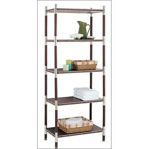 Baronial Wood and Chrome Five-Tier Shelf