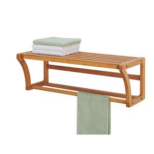 Bamboo Wall Mount Shelf with Towel Bars
