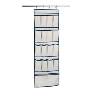 Twilight Grey and Pattern Blue Accent 16 Pocket Overdoor Storage Bag