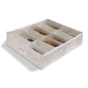 Set of Two White Underbed Shoe Organizers