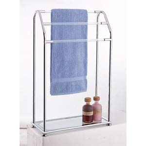 Three Bar Towel Rack with Bottom Shelf