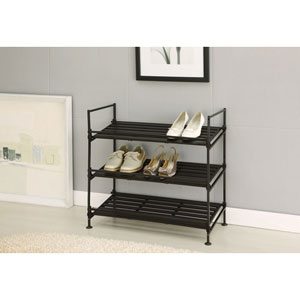 Espresso Ebonize Three-Tier Shoe Rack