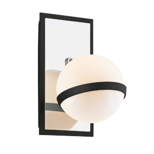 Ace Carbide Black with Polished Nickel One-Light Wall Sconce