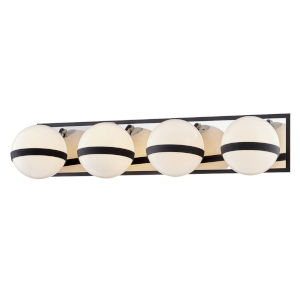 Ace Carbide Black with Polished Nickel Accents Four-Light Bath Vanity