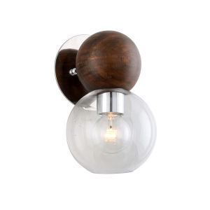 Arlo Polished Stainless Steel and Natural Acacia One-Light Wall Sconce