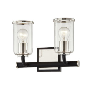 Aeon Carbide Black and Polished Nickel Two-Light Bath Vanity