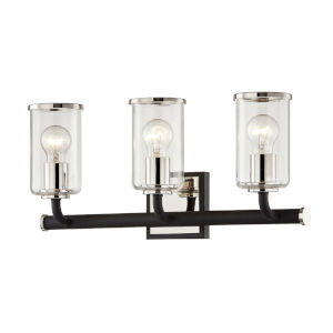 Aeon Carbide Black and Polished Nickel Three-Light Bath Vanity