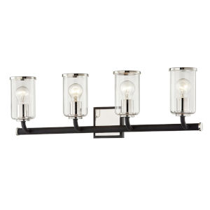 Aeon Carbide Black and Polished Nickel Four-Light Bath Vanity