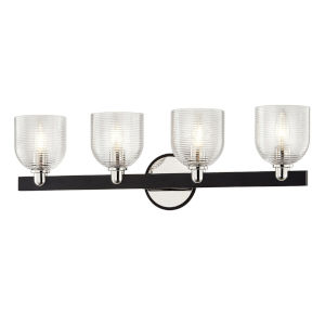 Munich Carbide Black and Polished Nickel Four-Light Bath Vanity
