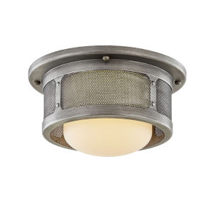 Bauer Antique Pewter One-Light 12-Inch Flush Mount