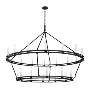 Sutton Textured Black 18-Light Chandelier