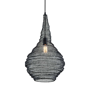 Wabi Sabi Black 16-Inch Pendant with Iron Mesh